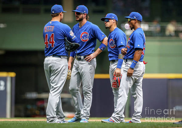 People Poster featuring the photograph Anthony Rizzo, Kris Bryant, and Javier Baez by Dylan Buell