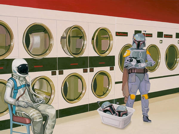 Astronaut Poster featuring the painting At the Laundromat with Boba Fett by Scott Listfield