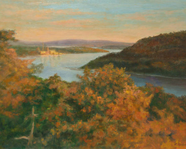 Landscape Poster featuring the painting Autumn Hudson Highlands by Phyllis Tarlow