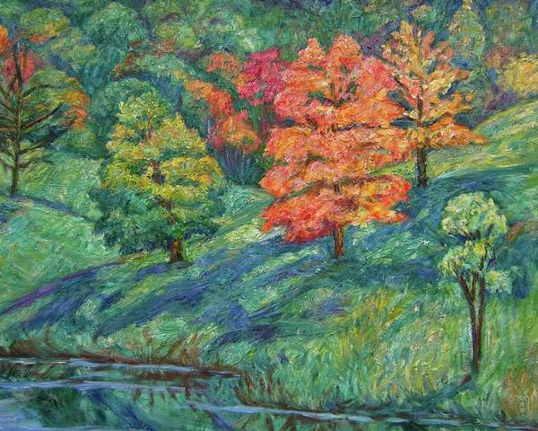 Landscape Poster featuring the painting Autumn Pond by Kendall Kessler