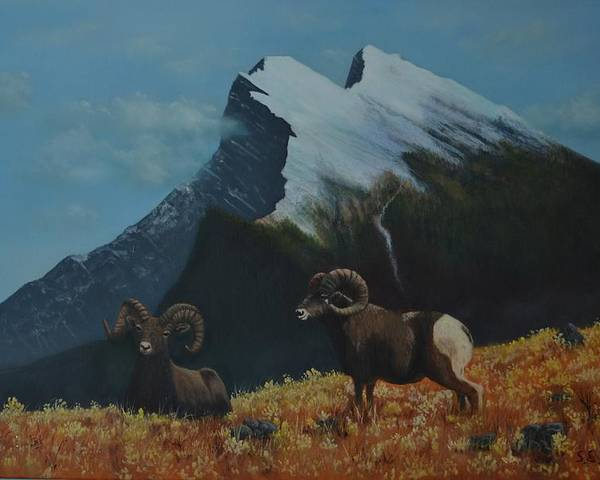 Bighorn Poster featuring the painting Bighorn Country by SueEllen Cowan