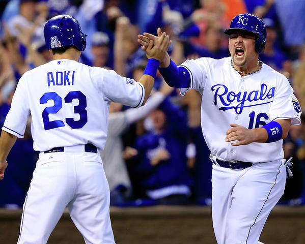 American League Baseball Poster featuring the photograph Billy Butler and Alcides Escobar by Jamie Squire