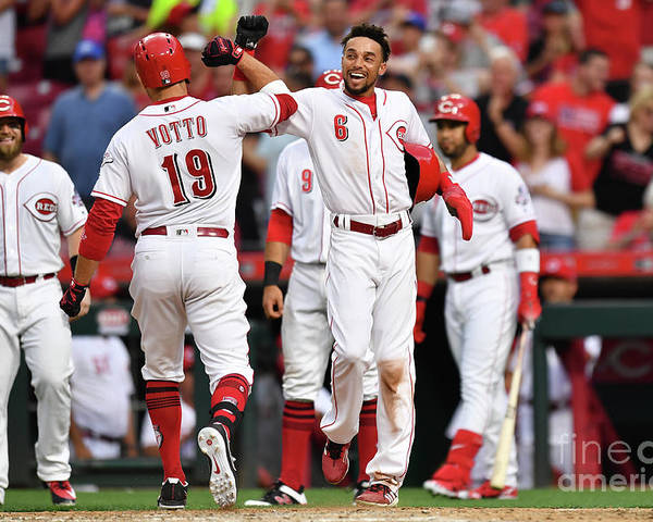 Great American Ball Park Poster featuring the photograph Billy Hamilton and Joey Votto by Jamie Sabau