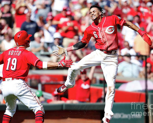 Great American Ball Park Poster featuring the photograph Billy Hamilton and Joey Votto by Kirk Irwin