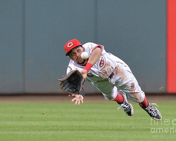 Great American Ball Park Poster featuring the photograph Billy Hamilton and Matt Adams by Jamie Sabau