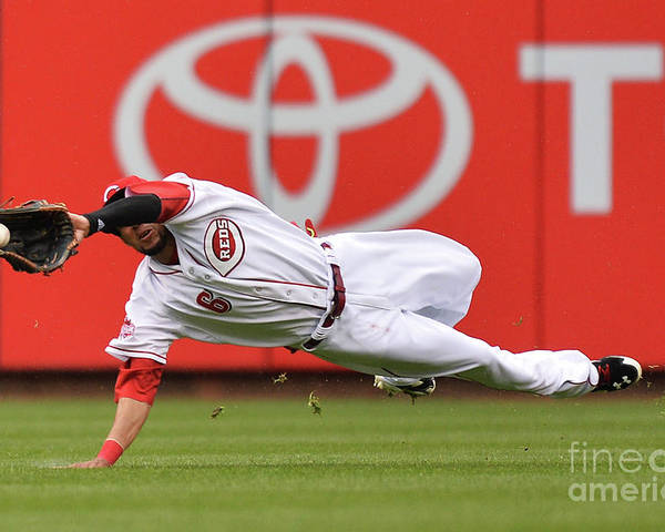 Great American Ball Park Poster featuring the photograph Billy Hamilton and Starling Marte by Jamie Sabau
