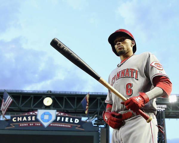 National League Baseball Poster featuring the photograph Billy Hamilton by Christian Petersen