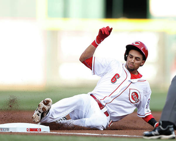 Great American Ball Park Poster featuring the photograph Billy Hamilton by Joe Robbins