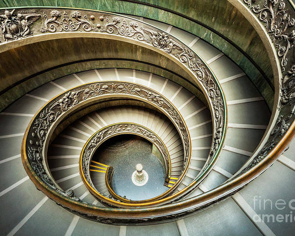 Bramante Staircase Poster featuring the photograph Bramante Spiral Staircase Vatican City by Neale And Judith Clark