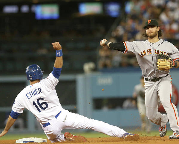 Double Play Poster featuring the photograph Brandon Crawford and Andre Ethier by Stephen Dunn