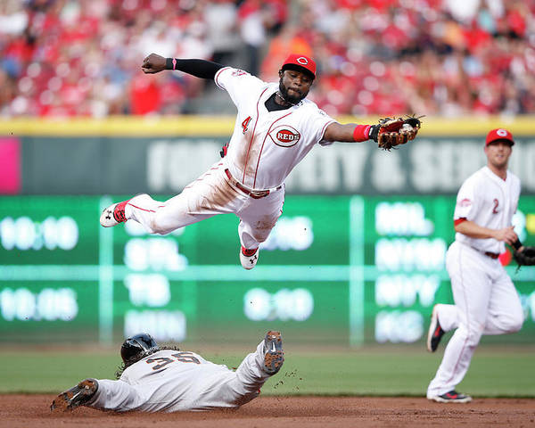 Great American Ball Park Poster featuring the photograph Brandon Crawford and Brandon Phillips by Joe Robbins
