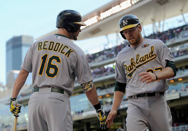 Second Inning Poster featuring the photograph Brandon Moss and Josh Reddick by Hannah Foslien