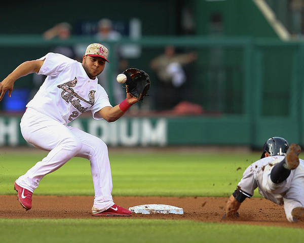 St. Louis Cardinals Poster featuring the photograph Brett Gardner and Jhonny Peralta by Dilip Vishwanat