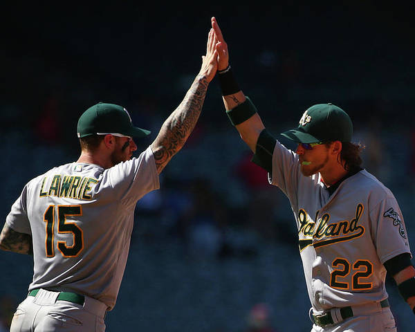 People Poster featuring the photograph Brett Lawrie and Josh Reddick by Victor Decolongon
