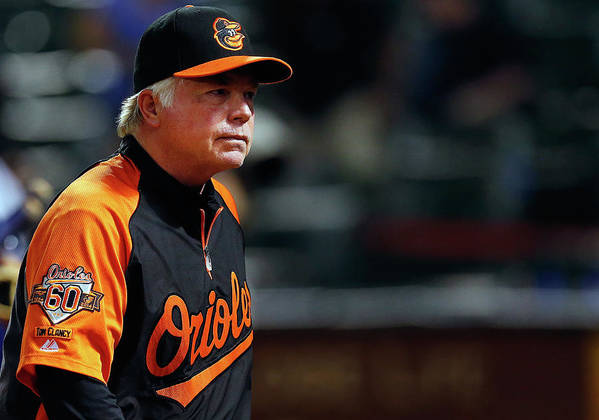 American League Baseball Poster featuring the photograph Buck Showalter by Tom Pennington