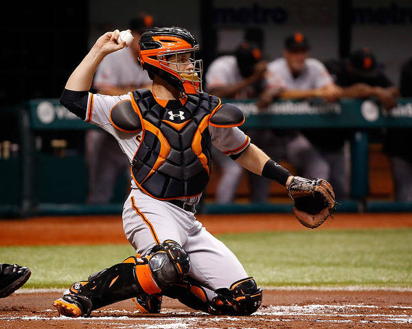 Baseball Catcher Poster featuring the photograph Buster Posey by J. Meric