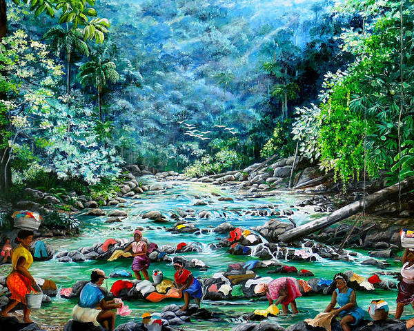 Land Scape Painting River Painting Mountain Painting Rain Forest Painting Washerwomen Painting Laundry Painting Caribbean Painting Tropical Painting Village Washer Women At A Mountain River In Trinidad And Tobago Poster featuring the painting Caribbean Wash Day by Karin Dawn Kelshall- Best