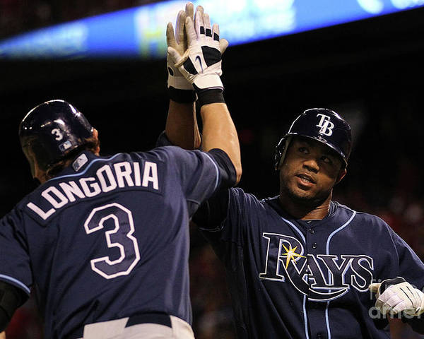 People Poster featuring the photograph Carl Crawford and Evan Longoria by Ronald Martinez