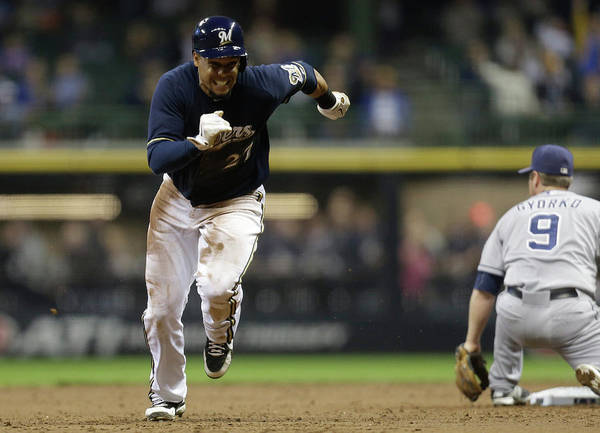 2nd Base Poster featuring the photograph Carlos Gomez by Mike Mcginnis