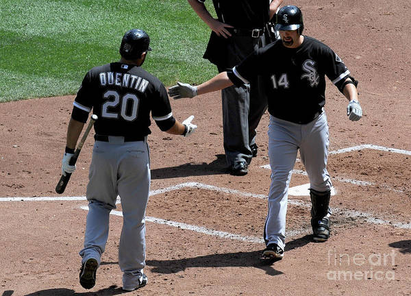 People Poster featuring the photograph Carlos Quentin and Paul Konerko by Hannah Foslien