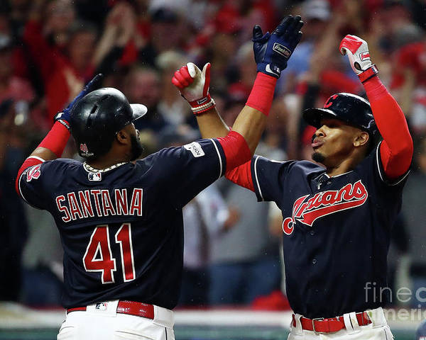 Game Two Poster featuring the photograph Carlos Santana and Francisco Lindor by Gregory Shamus