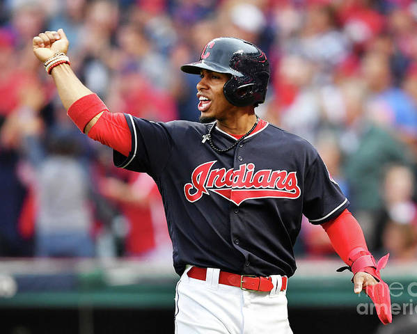 Game Two Poster featuring the photograph Carlos Santana and Francisco Lindor by Jason Miller