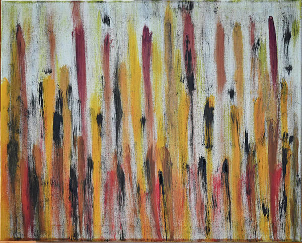 Red Poster featuring the painting Cattails at Sunset by Pam Roth O'Mara