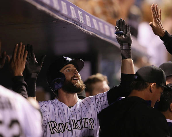 Celebration Poster featuring the photograph Charlie Blackmon by Doug Pensinger