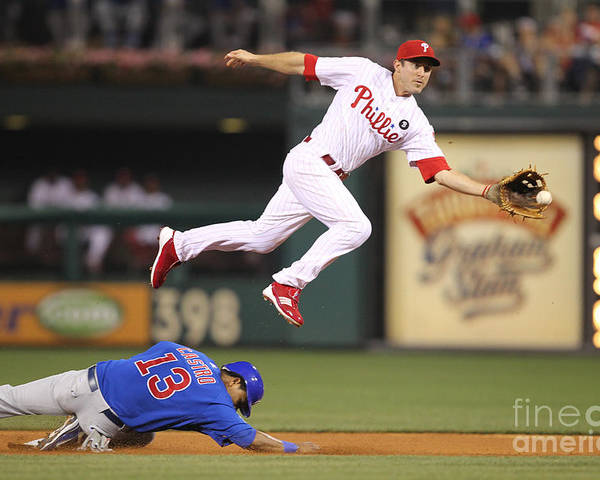 Citizens Bank Park Poster featuring the photograph Chase Utley and Starlin Castro by Hunter Martin