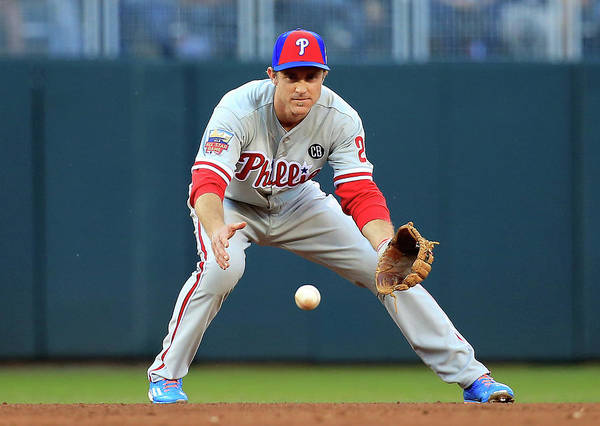 American League Baseball Poster featuring the photograph Chase Utley by Rob Carr