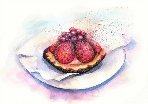 Cake Poster featuring the painting CHERRIES cake by Natalja Picugina