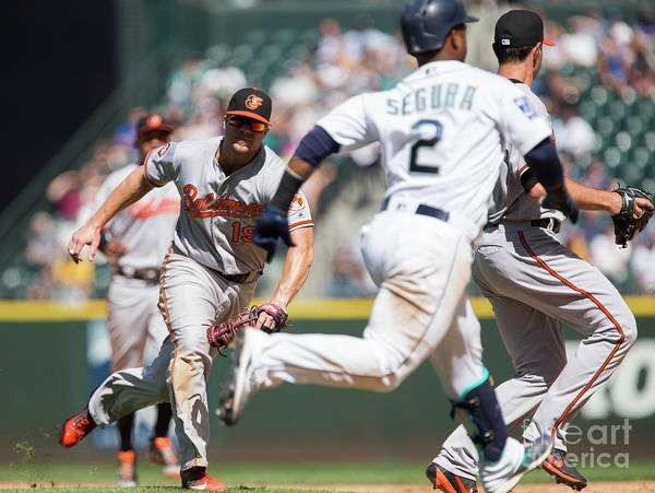 People Poster featuring the photograph Chris Davis and Jean Segura by Lindsey Wasson