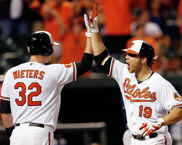American League Baseball Poster featuring the photograph Chris Davis and Matt Wieters by Rob Carr