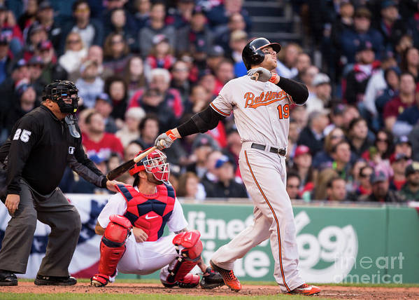 Ninth Inning Poster featuring the photograph Chris Davis by Michael Ivins/boston Red Sox