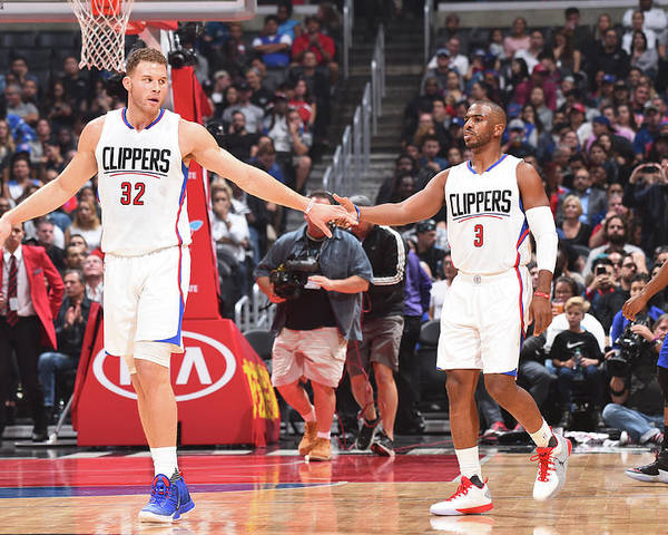 Nba Pro Basketball Poster featuring the photograph Chris Paul and Blake Griffin by Juan Ocampo