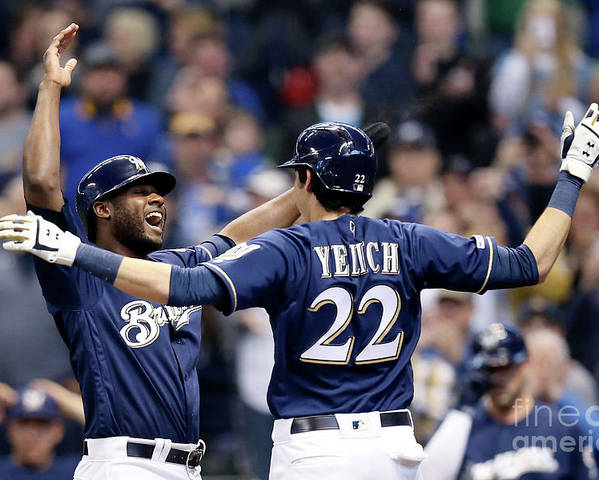 People Poster featuring the photograph Christian Yelich and Lorenzo Cain by Dylan Buell