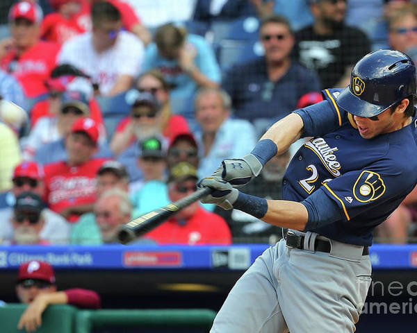 Three Quarter Length Poster featuring the photograph Christian Yelich by Rich Schultz