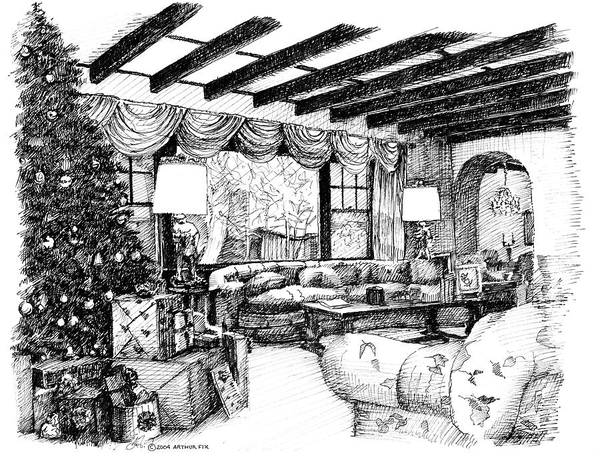 Christmas Poster featuring the drawing Christmas Home by Arthur Fix