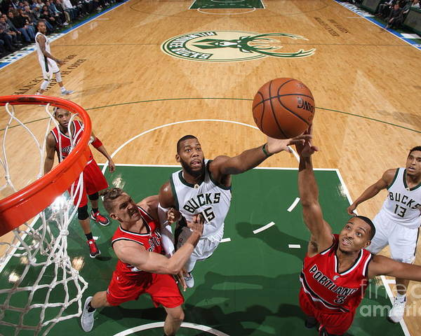 Nba Pro Basketball Poster featuring the photograph C.j. Mccollum and Greg Monroe by Gary Dineen