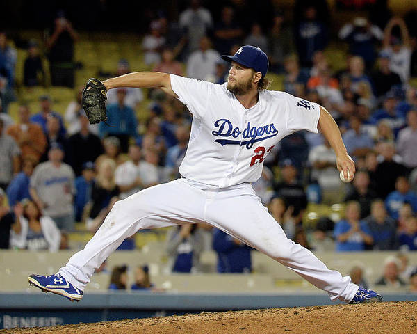 Ninth Inning Poster featuring the photograph Clayton Kershaw by Kevork Djansezian