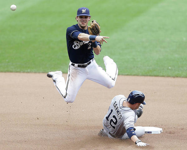 Double Play Poster featuring the photograph Clint Barmes and Scooter Gennett by Mike Mcginnis