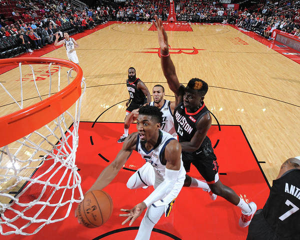 Nba Pro Basketball Poster featuring the photograph Clint Capela and Donovan Mitchell by Bill Baptist
