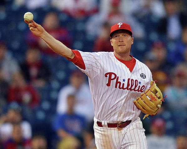 Ninth Inning Poster featuring the photograph Cody Asche by Drew Hallowell
