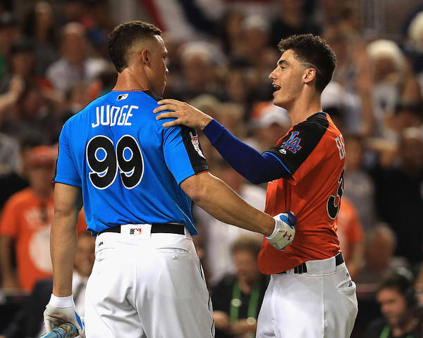 Three Quarter Length Poster featuring the photograph Cody Bellinger and Aaron Judge by Mike Ehrmann
