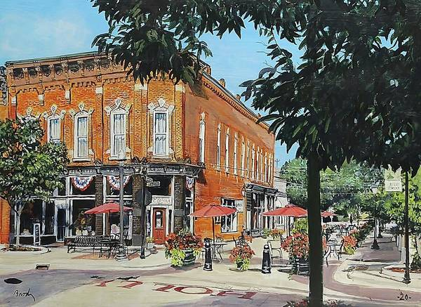Holly Michigan Poster featuring the painting Coffee On The Corner by William Brody
