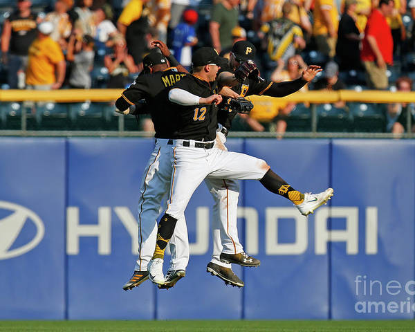People Poster featuring the photograph Corey Dickerson and Starling Marte by Justin K. Aller