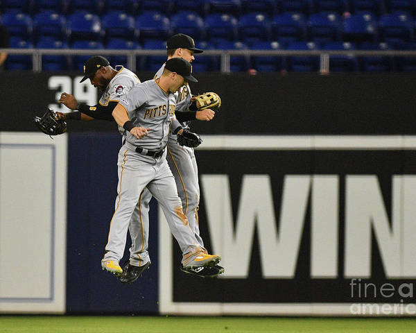 People Poster featuring the photograph Corey Dickerson And Starling Marte by Mark Brown