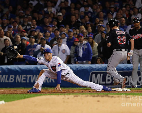 Second Inning Poster featuring the photograph Corey Kluber, Anthony Rizzo, and Kris Bryant by Jamie Squire