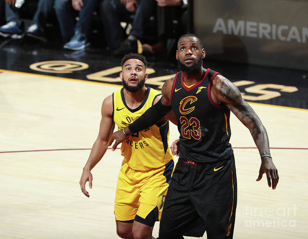 Playoffs Poster featuring the photograph Cory Joseph and Lebron James by Nathaniel S. Butler
