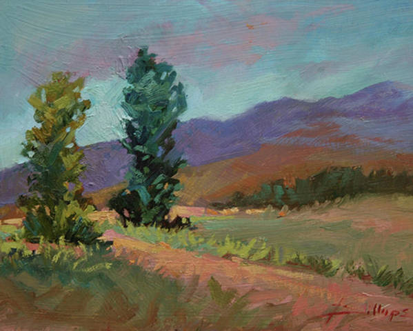 Cottonwood Paintings Poster featuring the painting Cottonwoods by Betty Jean Billups